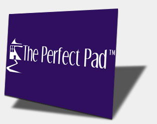 Flash logo splash page: The Perfect Pad.  Click to see animation